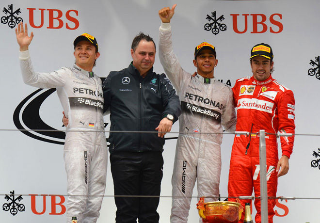 F1 - China 2014 - Rosberg Hamilton y Alonso en el Podio
