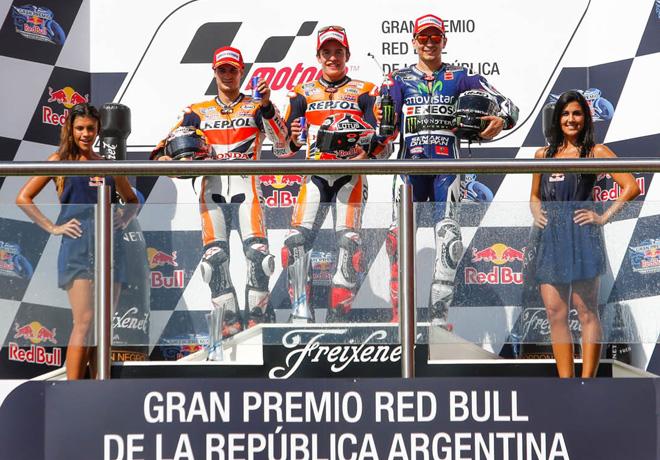 MotoGP - Termas de Rio Hondo - Pedrosa - Marquez - Lorenzo en el Podio