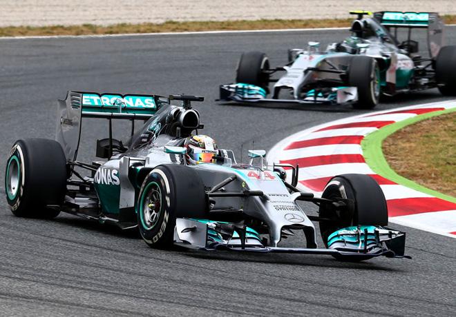 F1 - Barcelona 2014 - Lewis Hamilton y Nico Rosberg - Mercedes GP