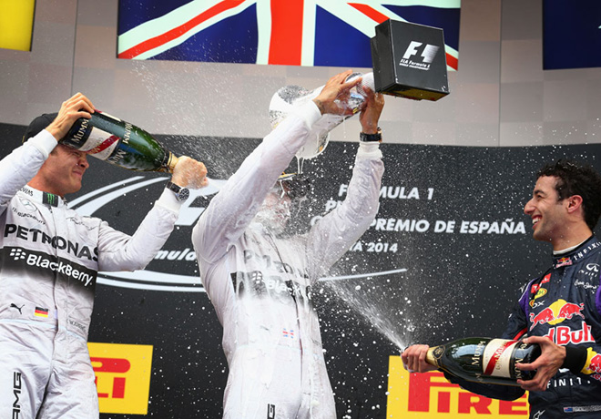 F1 - Barcelona 2014 - Rosberg Hamilton y Ricciardo en el Podio