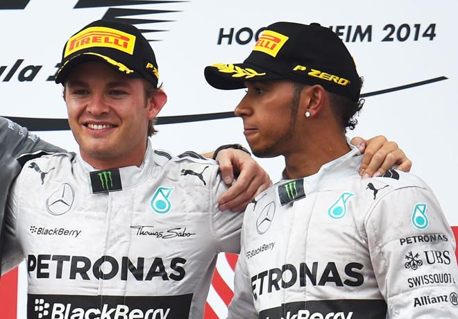 F1 - Alemania 2014 - Nico Rosberg  Lewis Hamilton en el Podio