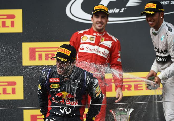 F1 - Hungria 2014 - Ricciardo - Alonso - Hamilton en el Podio