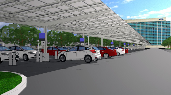 Ford construira un panel solar para recarga de vehiculos electricos en su sede de Dearborn 2