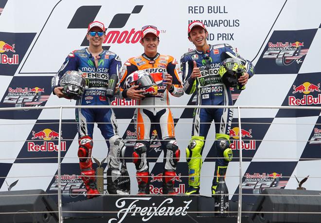 MotoGP - Indianapolis - Lorenzo - Marquez - Rossi en el Podio