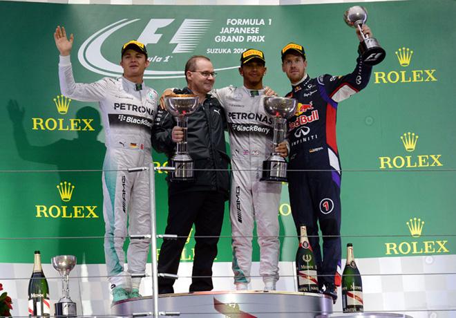 F1 - Japon 2014 - Nico Rosberg - Lewis Hamilton - Sebastian Vettel en el Podio