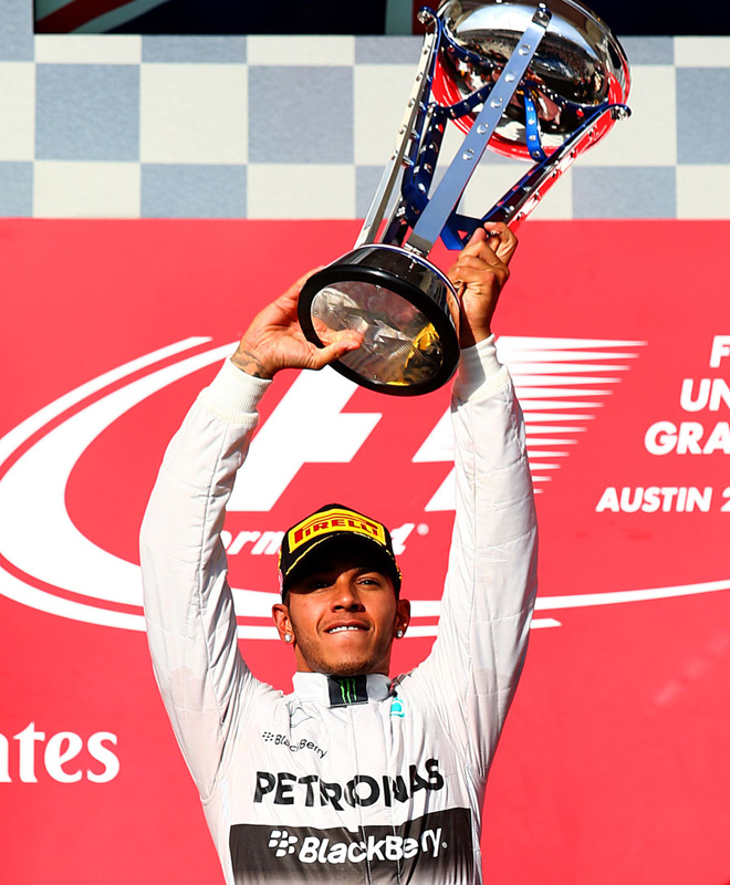 F1 - Estados Unidos 2014 - Lewis Hamilton en el Podio