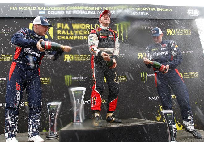 FIA World Rallycross Championship - Argentina - San Luis - Reinis Nitiss - Petter Solberg - Kevin Eriksson en el Podio