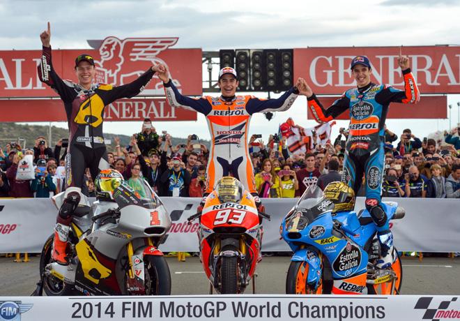 MotoGP - Valencia - Campeones 2014 - Esteve Rabat - Marc Marquez - Alex Marquez