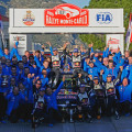 WRC - Monaco 2015 - Final - Sebastien Ogier y el equipo Volkswagen en el Podio