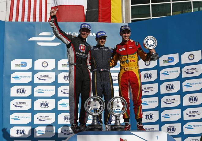 Formula E - Miami - Estados Unidos 2015 - Scott Speed - Nicolas Prost - Daniel Abt en el Podio