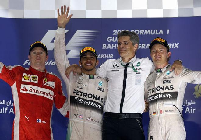 F1 - Bahrein 2015 - Kimi Raikkonen - Lewis Hamilton - Nico Rosberg en el Podio