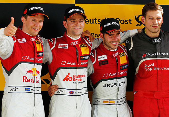 DTM - Lausitzring 2015 - Carrera 2 - Mattias Ekstrom - Jamie Green - Miguel Molina en el Podio