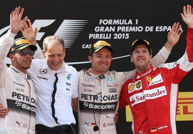 F1 - España 2015 - Carrera - Lewis Hamilton - Nico Rosberg - Sebastian Vettel en el Podio