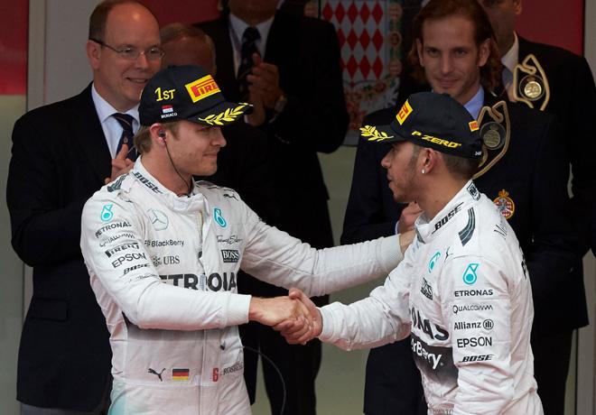 F1 - Monaco 2015 - Carrera - Nico Rosberg y Lewis Hamilton en el Podio