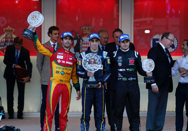 Formula E - Montecarlo - Monaco 2015 - Lucas Di Grassi - Sebastien Buemi - Nelson Piquet Jr en el Podio
