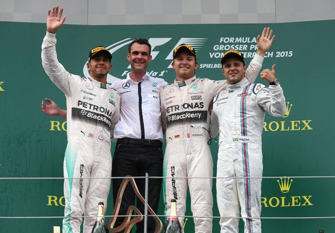 F1 - Austria 2015 - Carrera - Lewis Hamilton - Nico Rosberg - Felipe Massa en el Podio