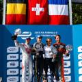 Formula E - Londres - Inglaterra 2015 - Carrera 1 - Jerome DAmbrosio - Sebastian Buemi - Alain Prost - Jean-Eric Vergne en el Podio