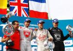 Formula E - Londres - Inglaterra 2015 - Carrera 2 - Jerome DAmbrosio - Sam Bird - Loic Duval en el Podio
