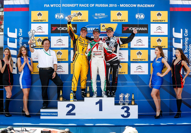 WTCC - Moscu - Rusia 2015 - Carrera 2 - Rob Huff - Tiago Monteiro - Norbert Michelisz en el Podio