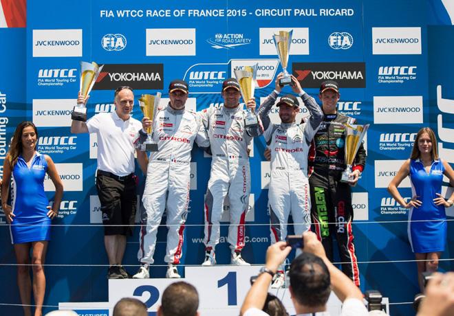WTCC - Paul Ricard - Francia 2015 - Carrera 1 - Yvan Muller - Sebastian Loeb - Jose Maria Lopez en el Podio