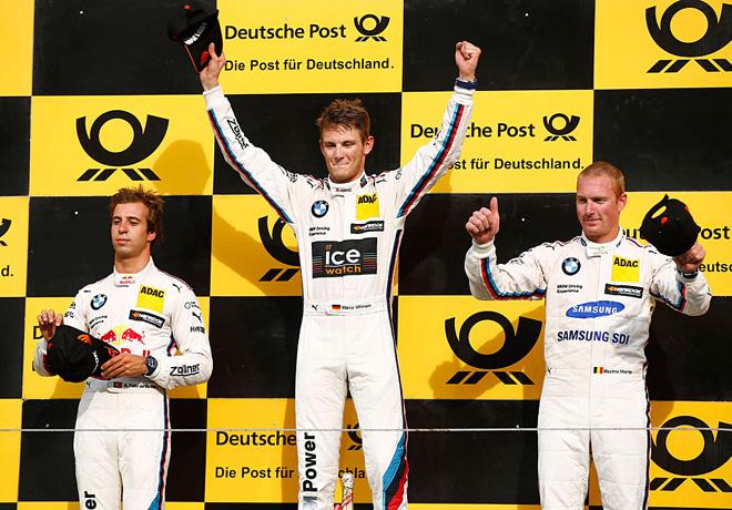 DTM - Zandvoort 2015 - Carrera 1 - Antonio Felix Da Costa - Marco Wittmann - Maxime Martin el Podio