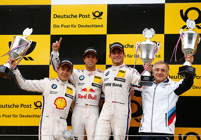 DTM - Zandvoort 2015 - Carrera 2 - Augusto Farfus - Antonio Felix Da Costa - Bruno Spengle el Podio copia