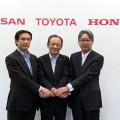 Ejecutivos de Nissan Toyota y Honda anunciaron detalles del acuerdo para promover estaciones de hidrogeno