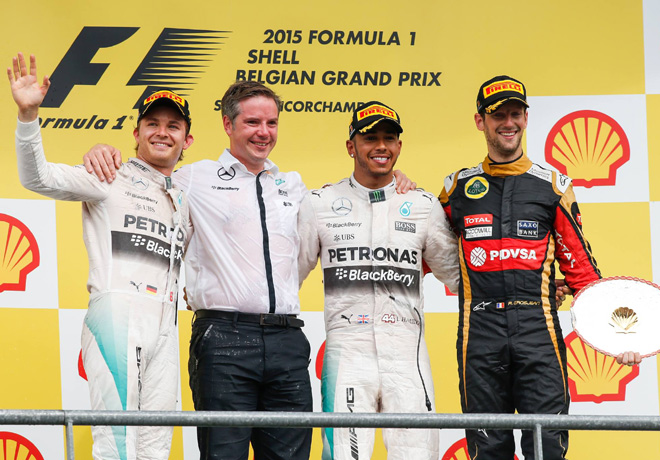 F1 - Belgica 2015 - Carrera - Nico Rosberg - Lewis Hamilton - Romain Grosjean en el Podio