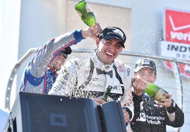 IndyCar - Mid-Ohio 2015 - Carrera - Justin Wilson - Graham Rahal - Simon Pagenaud en el Podio