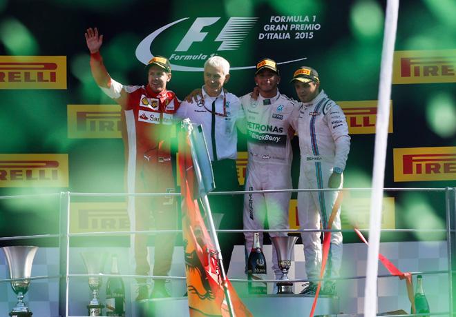 F1 - Italia 2015 - Carrera - Sebastian Vettel - Lewis Hamilton - Felipe Massa en el Podio