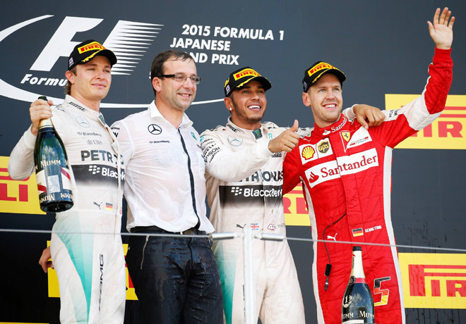 F1 - Japon 2015 - Carrera - Nico Rosberg - Lewis Hamilton - Sebastian Vettel en el Podio