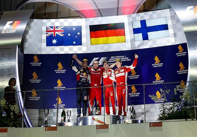 F1 - Singapur 2015 - Carrera - Daniel Ricciardo - Sebastian Vettel  - Kimi Raikkonen en el Podio