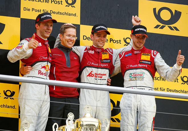 DTM - Hockenheim 2015 - Carrera 2 - Mattias Ekstrom - Jamie Green - Edoardo Mortara en el Podio