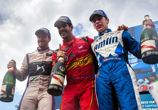 Formula E - Putrajaya - Malasia 2015 - Sam Bird - Lucas Di Grassi - Robin Frijns en el Podio