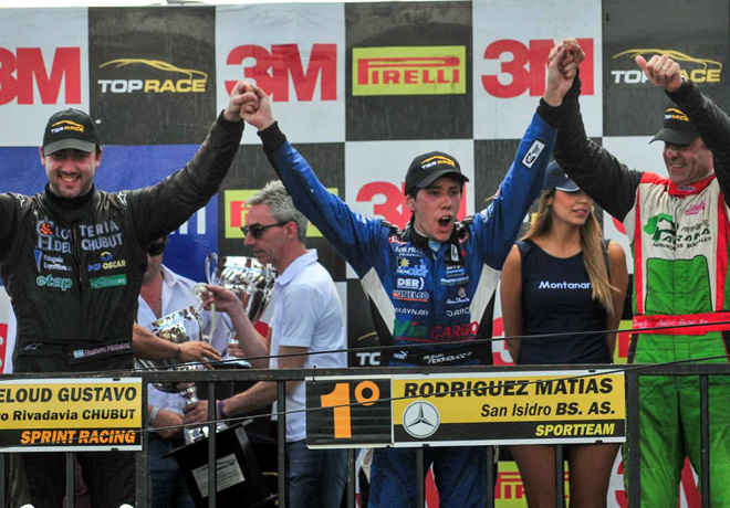 Top Race - Junin 2015 - Carrera - Gustavo Micheloud - Matias Rodriguez - Humberto Krujoski en el Podio