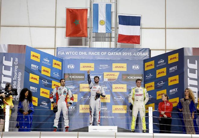 WTCC - Losail - Qatar 2015 - Carrera 1 - Mehdi Bennani - Jose Maria Lopez -  Hugo Valente en el Podio