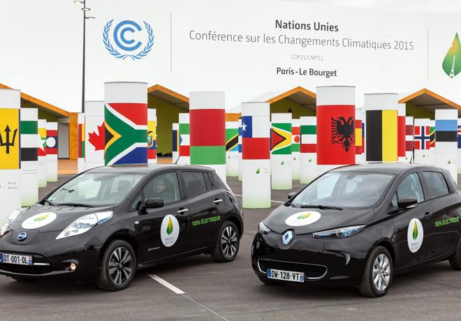 La flota de vehiculos electricos de la Alianza Renault-Nissan recorrio 175 mil km cero emisiones durante la COP21