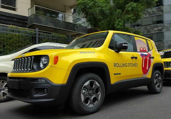 Jeep Renegade es el vehiculo de apoyo logistico del equipo de produccion de The Rolling Stones 1