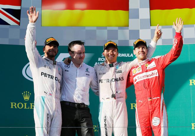 F1 - Australia 2016 - Carrera - Lewis Hamilton - Nico Rosberg - Sebastian Vettel en el Podio