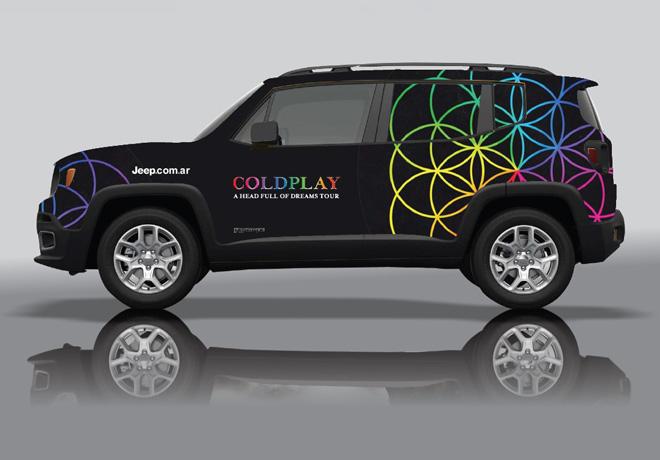Jeep Renegade - vehículo de apoyo logistico de Coldplay