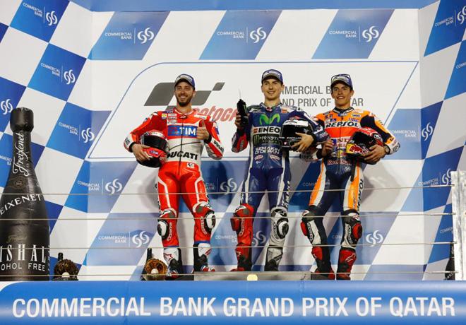 MotoGP - Qatar 2016 - Andrea Dovizioso - Jorge Lorenzo - Marc Marquez en el Podio