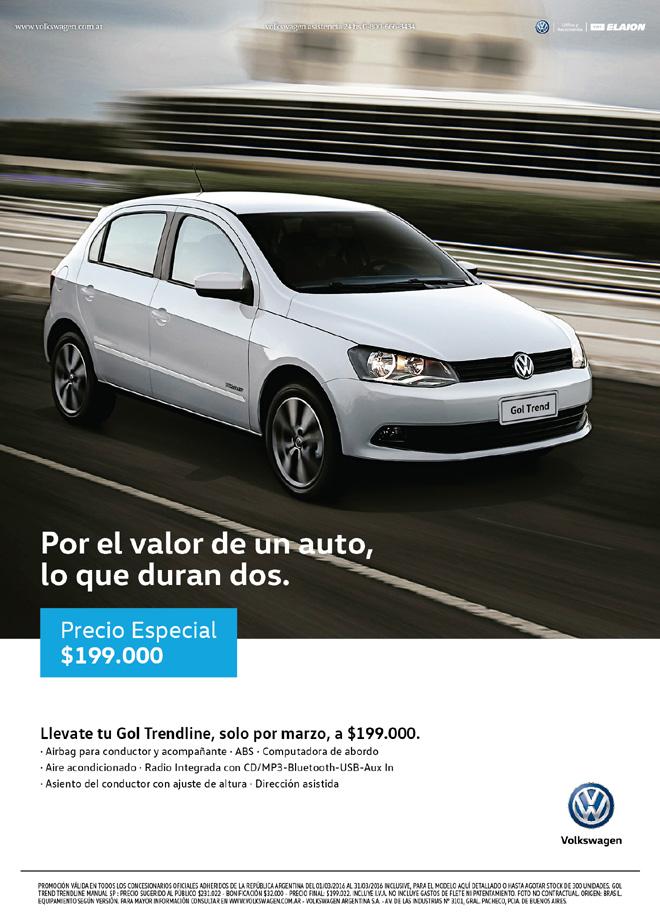 VW Gol Trendline a 199 mil pesos