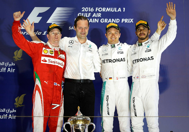 F1 - Bahrein 2016 - Carrera - Kimi Raikkonen - Nico Rosberg - Lewis Hamilton en el Podio
