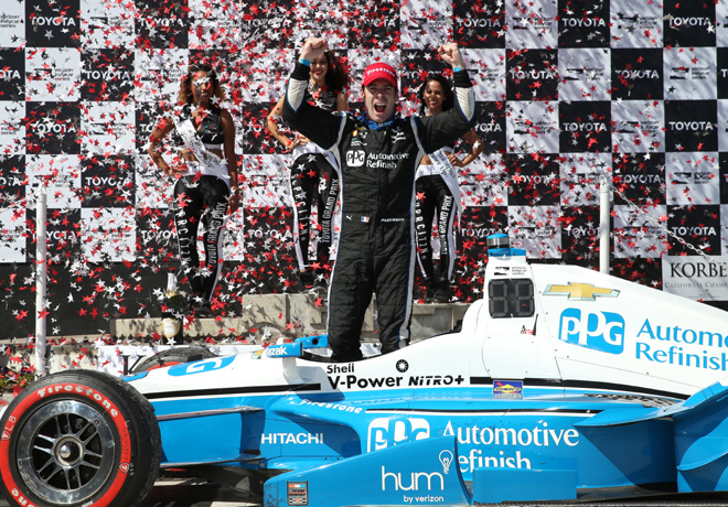 IndyCar - Long Beach 2016 - Carrera - Simon Pagenaud en el Victory Lane