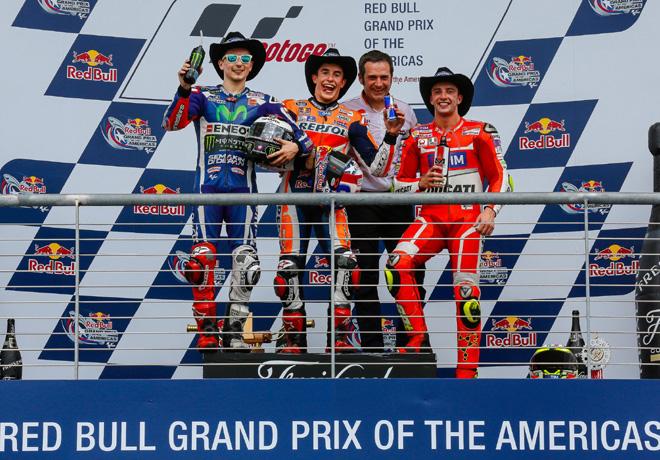 MotoGP - Austin 2016 - Jorge Lorenzo - Marc Marquez - Andrea Iannone en el Podio