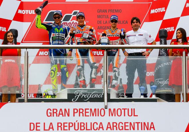 MotoGP -  Termas de Rio Hondo 2016 - Valentino Rossi - Marc Marquez - Dani Pedrosa en el Podio
