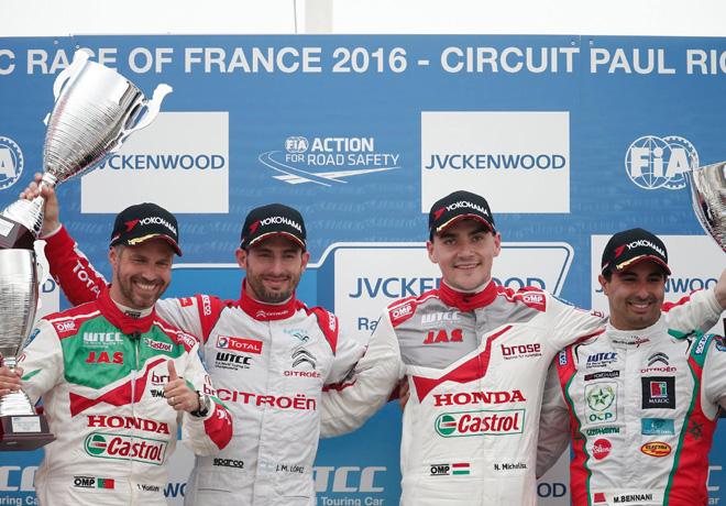 WTCC - Paul Ricard - Francia 2016 - Carrera 2 - Tiago Monteiro - Jose Maria Lopez - Norbert Michelisz - Mehdi Bennani en el Podio