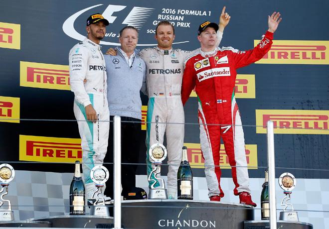 F1 - Rusia 2016 - Carrera - Lewis Hamilton - Nico Rosberg - Kimi Raikkonen en el Podio