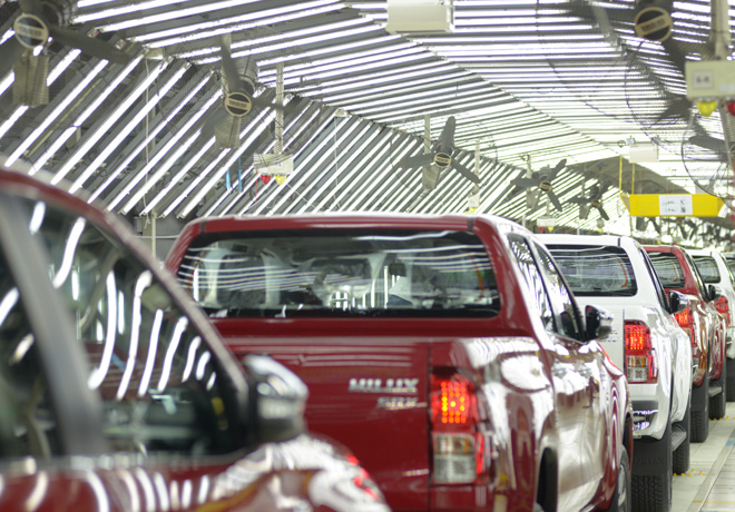 Linea de produccion de Toyota Hilux en la Planta de Zarate