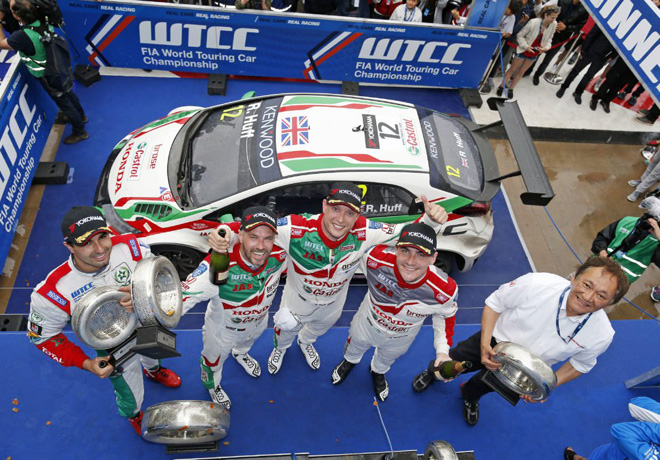 WTCC - Marrakech - Marruecos 2016 - Carrera 2 - Mehdi Bennani - Tiago Monteiro - Rob Huff - Norbert Michelisz en el Podio